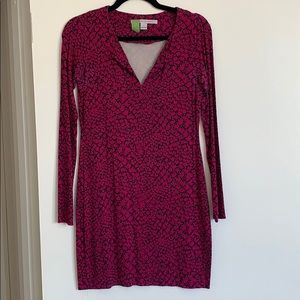 Pink & Black Long Sleeve DVF Dress